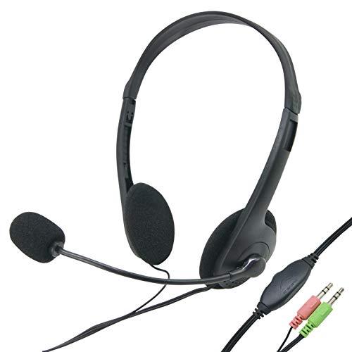 Waytex 69114-Cuffie stereo multimediali con microfono e regolazione del volume, colore: nero