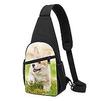コーギー子犬 ワンショルダーバッグ クロスボディバックパック ボディバッグ 斜めがけ バッグ おしゃれ 男女兼用 軽量 大容量