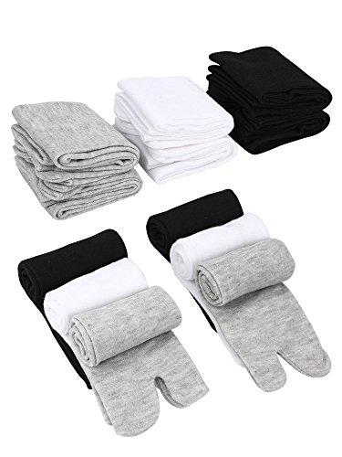 SATINIOR 6 Pares de Tabi Unisex Calcetines de Chanclas Calcetines Geta Calcetines Tabi de Dedos Separados Elásticos para Mujeres y Hombres (Negro, Blanco y Gris)