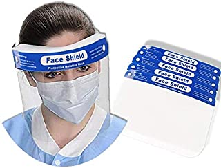 10 Pack Safety Face Shield, All-Round Protection Cap with Clear Wide Visor Spitting Anti-Fog Lens, Lightweight Transparent Shield with Adjustable Elastic Band for Men Women