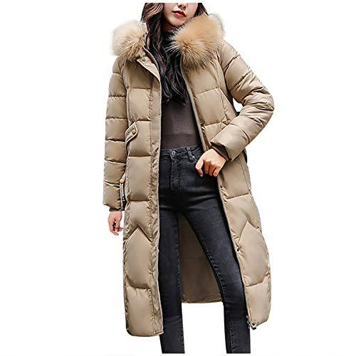 Yowablo daunenmantel Steppmantel Mantel Damen Winter Mantel Outwear Frauen Winterjacke Warmer Mantel Schlanker Pelz-Kapuzen-Reißverschluss Dicker (L,Khaki)