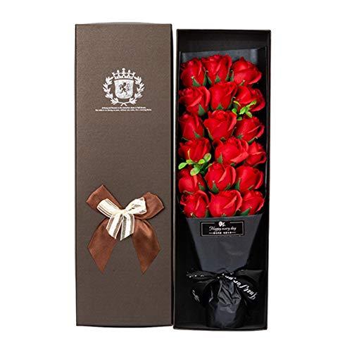 Handfly Regalos de San Valentín Jabón de baño perfumado Hecho a Mano Flor de Rosas 18 Ramo de Flores de jabón Rosa en Caja de Regalo Los Mejores Regalos para Ella