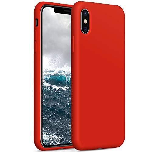 YATWIN Compatibile con Cover iPhone X 5,8'', Compatibile con Cover iPhone XS Silicone Liquido, Protezione Completa del Corpo con Fodera in Microfibra, Rosso