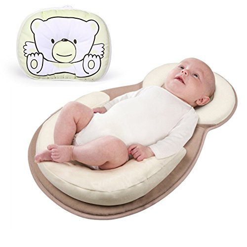 Newborn Baby Anti Roll Support Pillow Baby Bed Mattress - Free Pillow