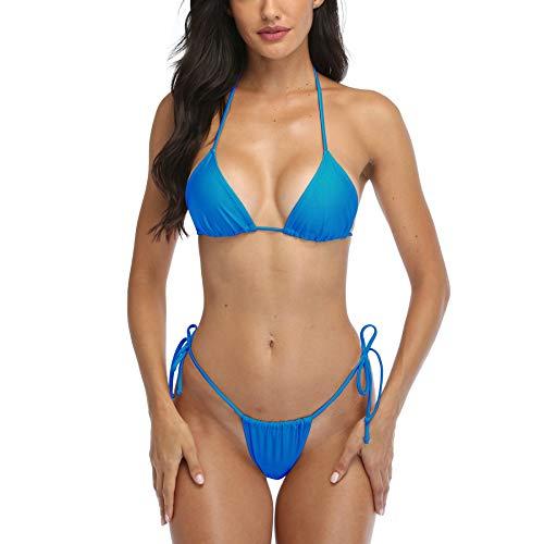 SHERRYLO Tanga-Bikini, Badeanzug für Damen, brasilianisches Unterteil, Triangel-Bikini - Blau - Medium