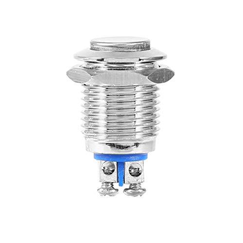 Nikou Interruptor de botón pulsador Botón de Inicio de Metal Resistente al Agua Interruptor eléctrico momentáneo de 12 mm