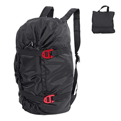 Dilwe Kletterseil Tasche, Faltender Wasserdichter Bergsteigen Schulter Rucksack für Klettern Trekking Wandert(Schwarz)