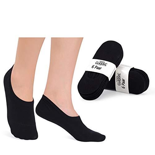 YouShow Füßlinge Herren Damen 12 Paar Sneaker Socken Ballerina Kurze Footies Unsichtbare Damen 39-42 Schwarz