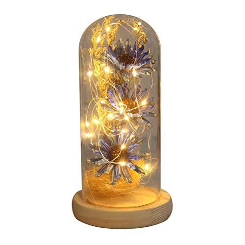 Prevessel Girasol artificial con tira de luz LED, flores románticas en cúpula de cristal, para tu amante, novia, regalo único para el día de la madre aniversario