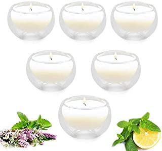 Witcreate Candle Scented Candles Gift Set,Lavender Mint Lemon Scented Candles, Double Transparent Glass Six Pack,Natural Soy Wax