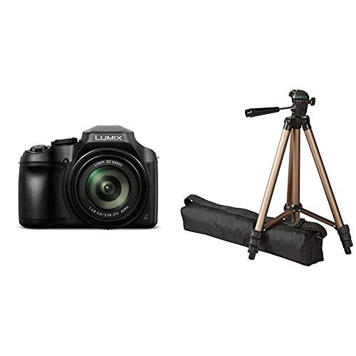 Panasonic Lumix DC-FZ82 Bridgekamera (18 Megapixel, 20 mm Weitwinkel, 60x Opt. Zoom, 4K30p Videoaufname, Hybrid Kontrast AF) schwarz & AmazonBasics 127cm (50