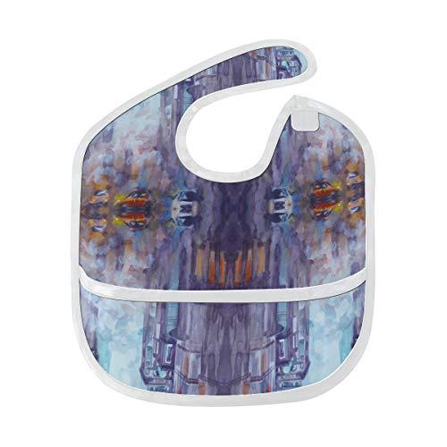 N\A Bavoir étanche bébé coloré mode Art American City enfants bavoirs imperméables tache douce bébé alimentation Dribble bavoir bavoirs Burp pour bébé 6-24 mois
