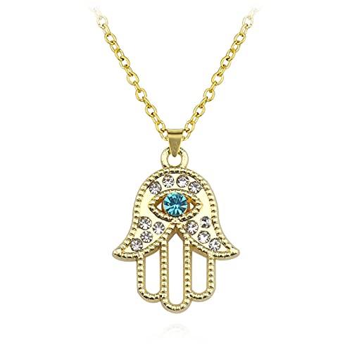 Collar con colgante de Hamsa de mano de ojo malvado de cristal turco, joyería de Color para mujer, cadenas de eslabones de clavícula ahuecadas