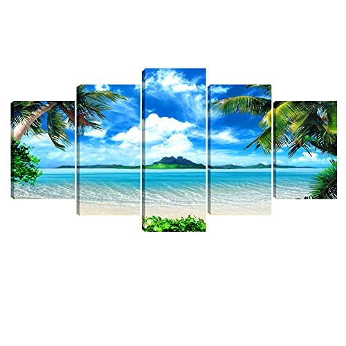 Pyradecor Modern 5 Panels Blue Sea Beach Pictures Paintings on Canvas Wall Art Stretched Contemporary Landscape Ocean Canvas Prints Artwork for Bedroom Home Decorations