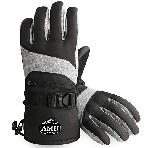 AMH Skiing & Snowboard Gloves for Winter Outdoor Activities, Warm 3M Thinsulate Gloves, Waterproof & Windproof with Touch Screen Design for Cold Weather, Fit Men & Women [Size XL]