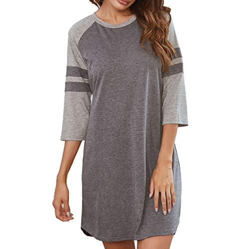 Summer Nightgowns For Women Loose Soft Night Shirts Short Sleeve Sleepwear Comfy Pajama S-XXL