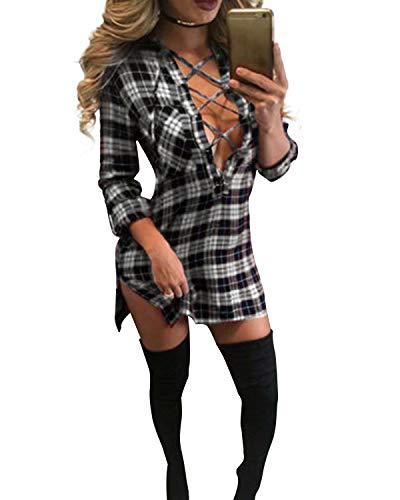 Auxo Camisa de Mujer Larga Elegante Camisas a Cuadros de Manga Larga Escote V con Cordones Mini Vestido Sexy Blusa Tallas Grandes Tunica Shirt Negro XXL
