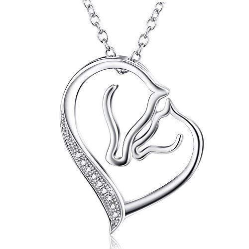 Sterling Silber Herz Halskette Pferd Anhänger Zirkonia Halskette mit Rolo Kette 18