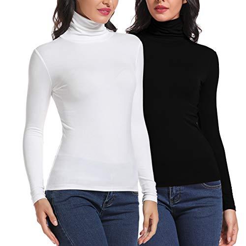 Carcos Damen 2er Pack Rollkragen Langarm Shirt, Basic Rolli Oberteil Hoher Kragen Slim Fit T-Shirt Top für Herbst Winter,Schwarz, Weiß,M