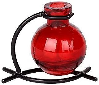 Romantic Decor and More Colorful Glass Red Ball Vase with Black Metal Stand 1/pc ~ G81F Floral vase ~ Bud Vase ~ Flower Vase ~ Decorative Vase ~ Incense Holder