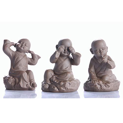 LINAG Figuras Monjes Budistas de Cerámica Mascota Bandeja de Té Decoración de Hogar, Sin Maldad Ver Escuchar Hablar Estatuas de Pequeños Budas Sabios,3 pcs