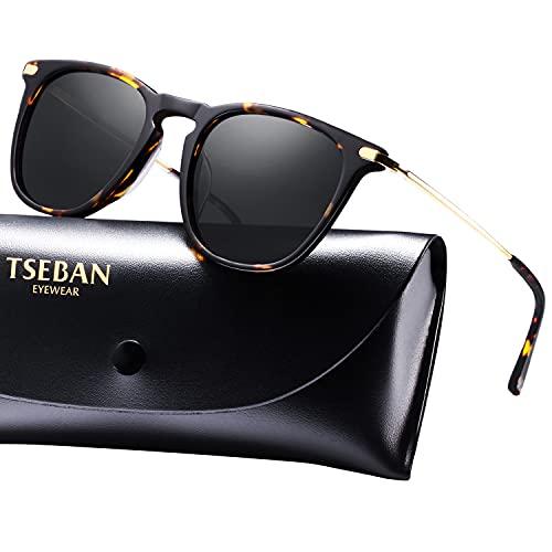 TSEBAN TSEBAN Vintage Damen Sonnenbrille Polarisierte Frauen Brille, Acetat-Rahmen & UV 400 Schutz,Schildpatt,Einheitsgröße