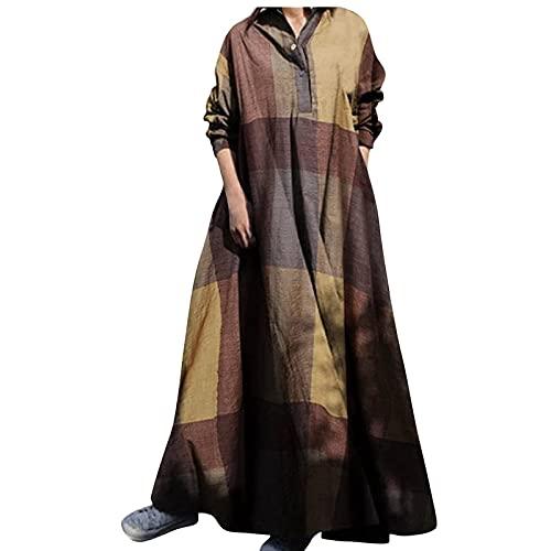 Vestido de noche largo para mujer, informal, manga larga, bolsillo, retro, rejilla, color, botón, camiseta en el tobillo, vestido de playa, amarillo, XL
