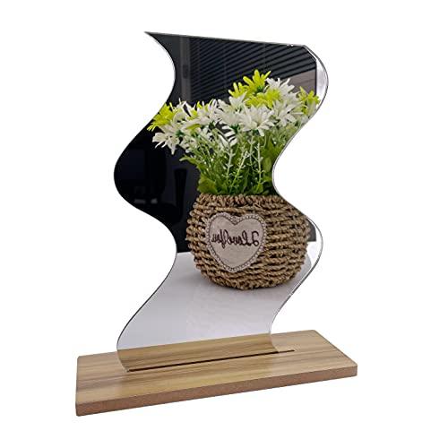 Gisela Espelho de mesa irregular de acrílico sem moldura com base de madeira para mulheres, mãe, namorada (onda)