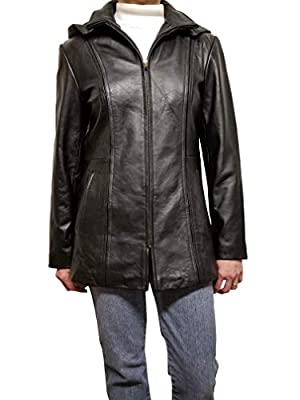 Women Leather Jacket with Hood Lambskin Black Zip front (medium)