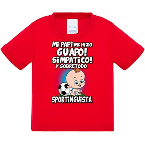 Camiseta bebé mi papi me hizo guapo simpático y sobretodo aficionado al fútbol del Sporting - Rojo, 1 año