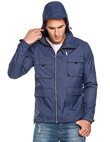COOFANDY Mens Lightweight Rain Jacket Waterproof Hooded Running Cycling Zipper Packable Outdoor Raincoat Blue