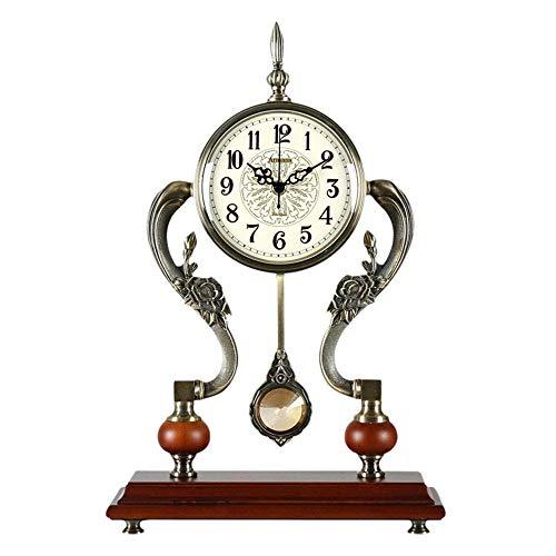 Reloj clásico de manto con péndulo de escritorio retro europeo chimenea reloj silencio escritorio funciona con batería, decoración del hogar (color rojo-marrón) ZZYYLLYZ
