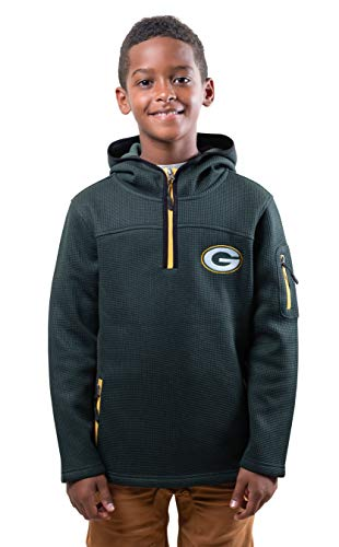 Ultra Game NFL Green Bay Packers Youth Extra Soft Fleece Quarter Zip Pullover Hoodie Sweartshirt, Team Color, 8