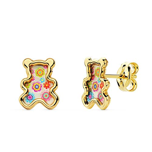 18K Gold Earrings 8mm Girl. Teddy Background Nacre Colorines Details Smooth Edge Closure Pressure