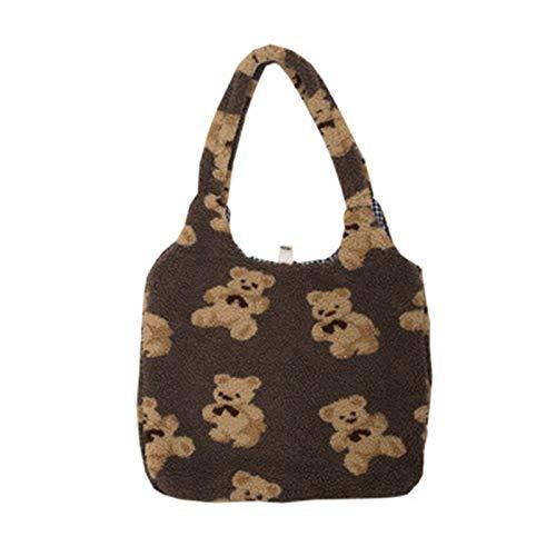 WDFVGEE Women Lamb Like Fabrics Shoulder Tote Bag Canvas Fluffy Fur Bear Handbags Cute Plush Bear Pattern Shoulder Bag