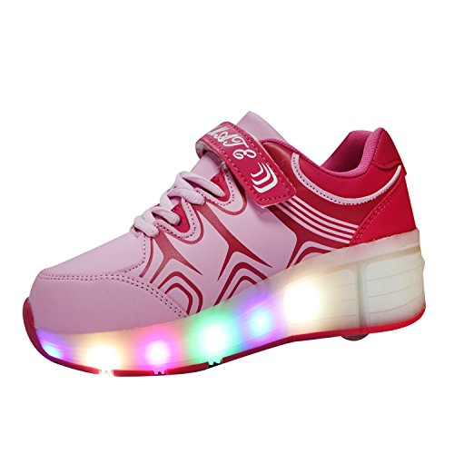 VMATE Pink LED Light Up Sneakers Single Wheel Roller Skate Shoes Kids Boys Girls Shoes