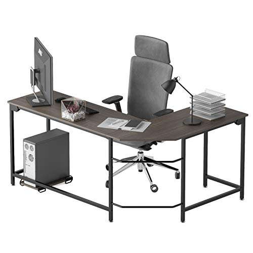Weehom 66 Inch Large L Shaped Computer Gaming Desk, Sturdy Home Office Writing Workstation Wooden Gaming Table with Lots of Leg Room and Surface Top Space