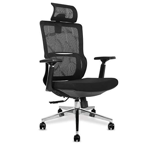 mfavour Bürostuhl Ergonomischer Schreibtischstuhl, Drehstuhl mit Verstellbarer Kopfstütze und 3D Armlehne, Höhenverstellung und Wippfunktion, Rückenschonend, Bürostuhl bis 150kg