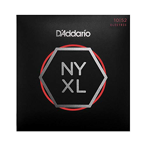 D'Addario NYXL1052 Nickel Plated Electric Guitar Strings,Light Top/Heavy Bottom,10-52 – High Carbon Steel Alloy for Unprecedented Strength – Ideal Combination of Playability and Electric Tone