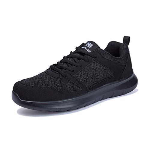 NewDenBer Sportschuhe Herren Freizeit Turnschuhe Leichtes Sneaker Laufschuhe (49 EU, Schwarz Black)