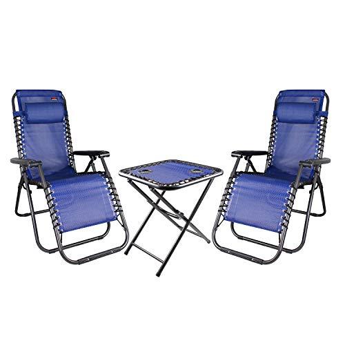 Mojawo 3-TLG. Luxus Comfort Set Gartenstuhl - Relaxsessel - Relaxstuhl - Liegestuhl - klappbar - verstellbar - mit Kopfpolster und Getränkehalter Blau
