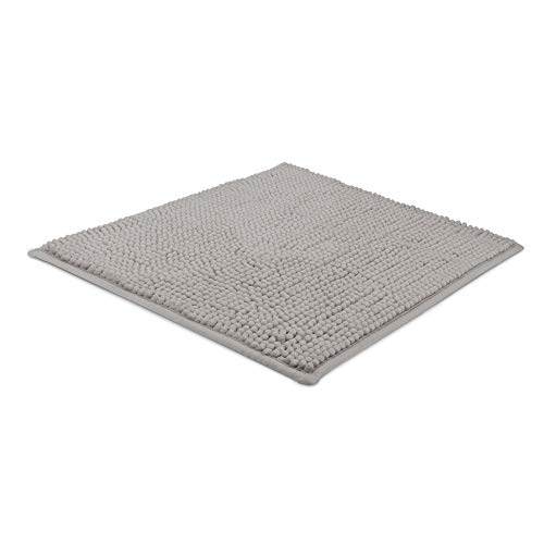 Beautissu Badematte rutschfest 50x50 cm - BeauMare WR Chenille Badezimmerteppich für Fußbodenheizung geeignet - Flauschiger Badvorleger für Dusche, Badewanne und WC in Grau