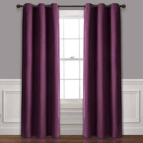 "Lush Decor Absolute Blackout Plum Insulated Grommet Window Curtain Panel Pair | Room Darkening, Energy Efficient, 84"" x 38"
