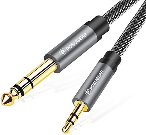 POSUGEAR Câble Audio 3.5mm vers 6.35mm Stéréo Jack 5M, Nylon Tressé Jack Stéréo 6.35 Mâle vers 3.5 Mâle pour Lecteurs de DVD, Haut-parleurs, Table de Mixage, Cinéma Maison etc.