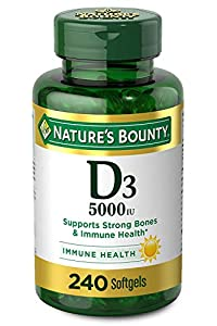 Immune support: 240-count, 5000IU Vitamin D3 Softgels for immune health. Vitamin D by Nature's Bounty may assist the immune system by helping to regulate T and B-lymphocytes. Vitamin D3 is a more potent form of Vitamin D Strong, healthy bones: In add...