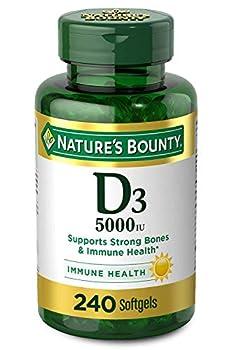Vitamin D3 by Nature's Bounty for Immune Support Vitamin D Provides Immune Support and Promotes Healthy Bones 125 mcg  5000iu  240 Softgels