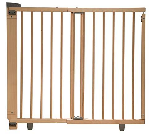 Geuther Treppenschutzgitter für Baby, Kinder und Hund, Absperrgitter für Treppe in Holz, natur, 86 - 133 cm, Schutzgitter für Treppen zum bohren