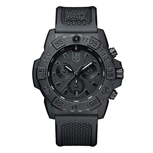 Luminox Navy Seal Mens Watch Chronograph Black Out (XS.3581.BO / 3580 Series): 200 Meter Waterproof + Stop Watch + Ultra Light Weight Carbon Case