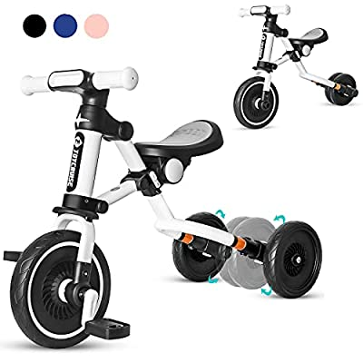 3 in 1 Kids Tricycle for Age 1-4 Years Old Kids, Toddler Baby Balance Bike - Folding Trike for Boys and Girls - Adjustable Seat - Convertible Rear Wheels - Removable Pedals(Black) by Joycruise