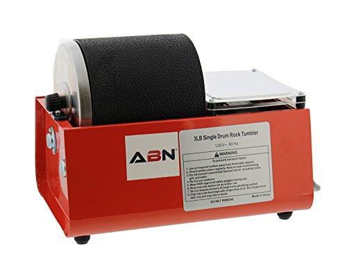 ABN Rolling Rock Tumbler Kit – 3 lb Pound Single Drum Rock Polisher – Polishing Tumbling Machine Set for Kids & Adults